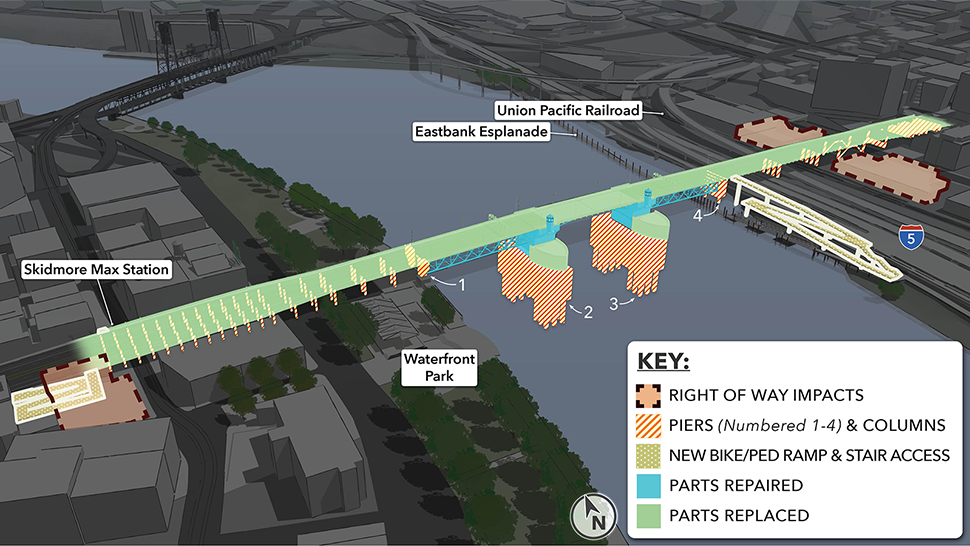 Rendering showing the right of way impacts, piers (numbered 1-4) & columns, new bike/ped ramp & stair access on the east and west approaches, parts replaced including the bridge deck and piers in the river, and parts repaired including the support columns.