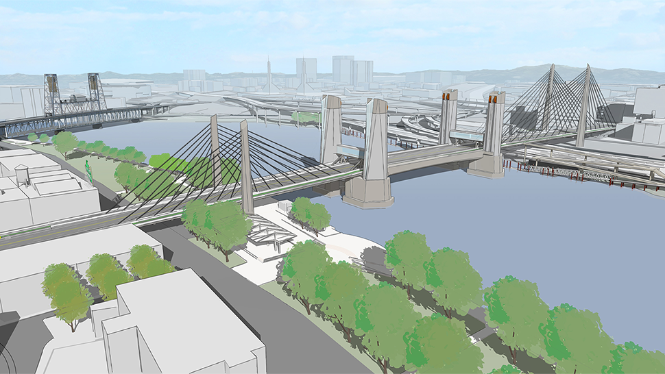 A rendering of the long span option with two towers near the west and east sides of the bridge deck and cables connecting from the towers to the deck. The middle of the bridge deck is the bascule which has no structures above.