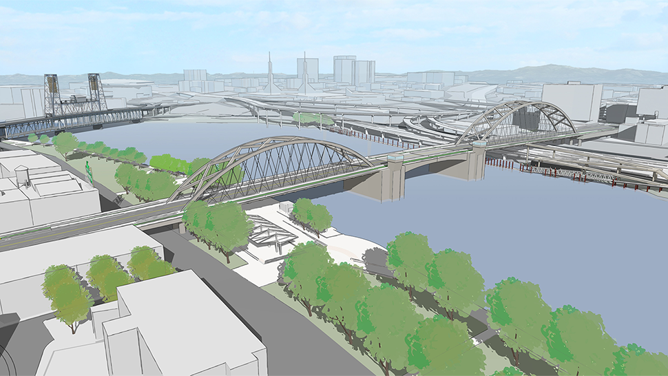 A rendering of the long span option with two tied arches on the east and west sides of bascule above the bridge deck