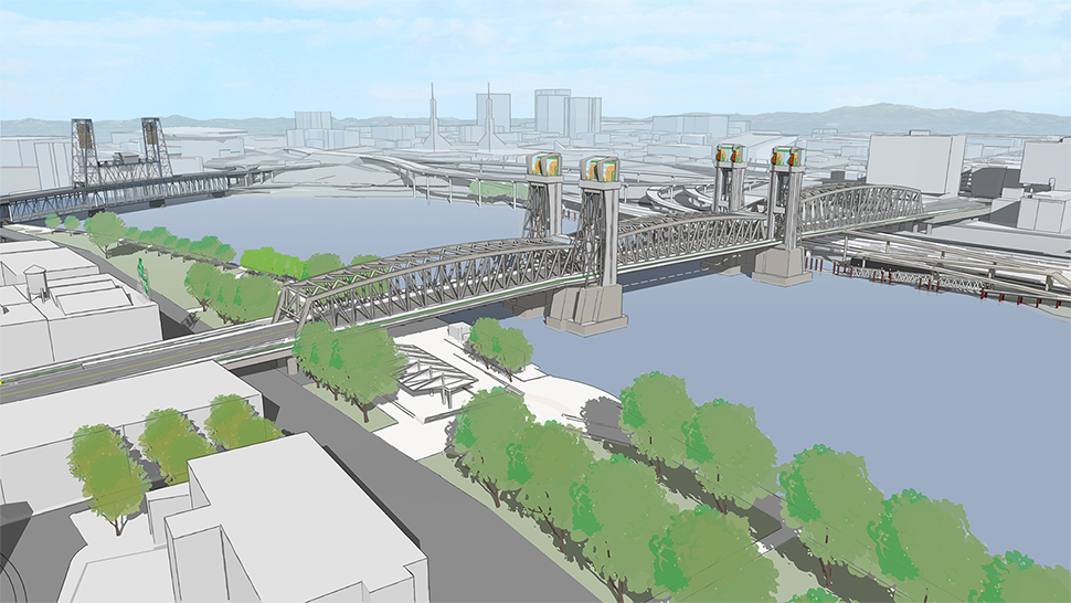 A rendering of the long span option with a metal rectangular box like structure above the bridge deck and two sets of towers near the middle at each end of the bridge lift.