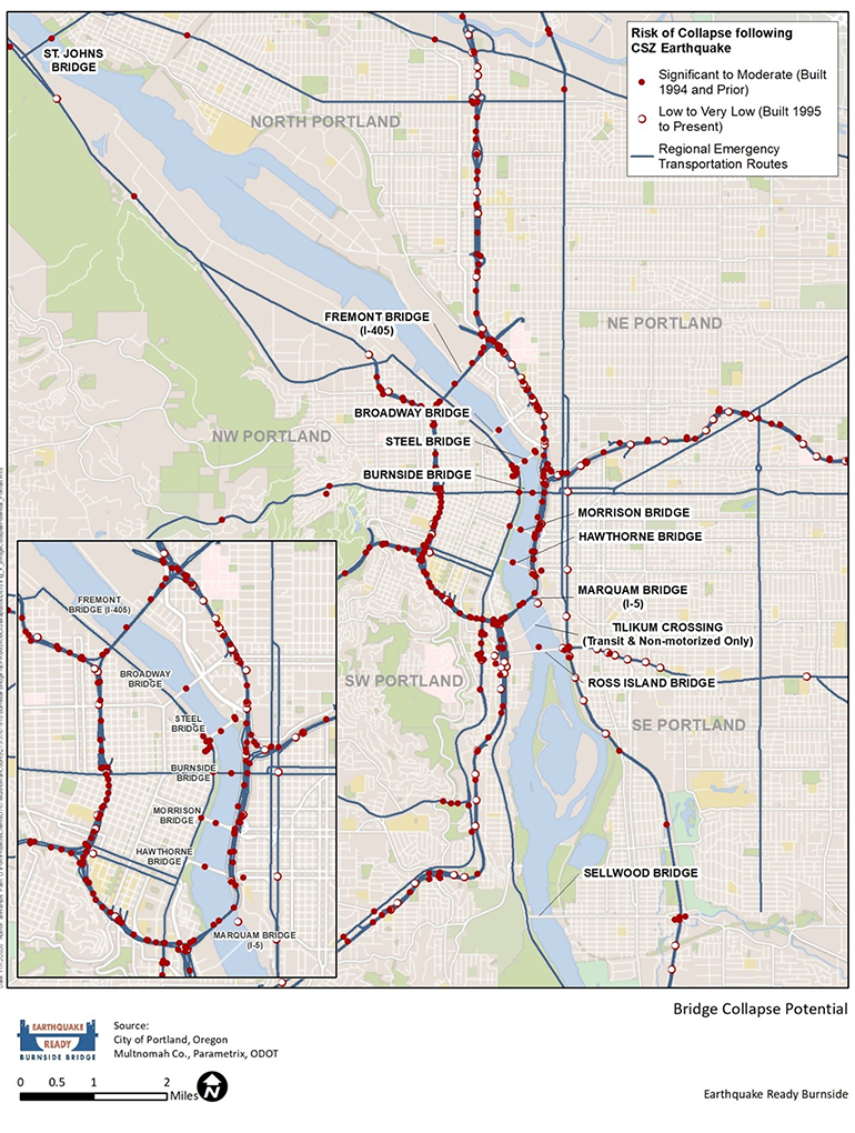 A map of the city of Portland with Regional Emergency Transportation Routes with indications of high to low risk of collapse in the event of a major earthquake. For more information, please call 503-988-5970.